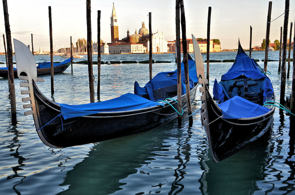 Two Moored Gondolas and San Giorgio Maggiore in Venice, Italy<br />