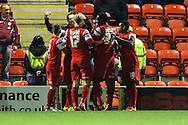 Jay Simpson of Leyton Orient (3rd right) celebrates scoring the opening goal against Northampton Town during the Johnstone's Paint Trophy match at the Matchroom Stadium London,<br /> Picture by David Horn/Focus Images Ltd +44 7545 970036<br /> 11/11/2014