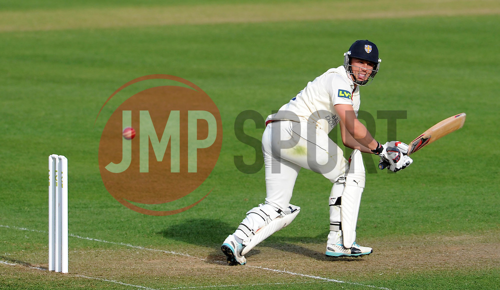 Durham's Scott Borthwick flicks the ball off the bowling of Somerset's Lewis Gregory.- Photo mandatory by-line: Harry Trump/JMP - Mobile: 07966 386802 - 12/04/15 - SPORT - CRICKET - LVCC County Championship - Day 1 - Somerset v Durham - The County Ground, Taunton, England.