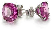 stern magenta and silver stud earrings