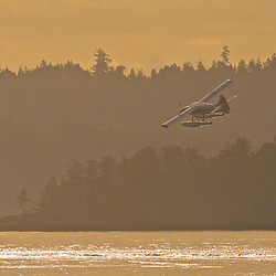 A float plane takes off in the early morning light near Nanaimo, Canada.