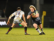 Sale Sharks prop Ross Harrison  runs at  Saracens fly-half Alex Lozowski during the Aviva Premiership match Sale Sharks -V- Saracens at The AJ Bell Stadium, Salford, Greater Manchester, England on Friday, February 16, 2018. (Steve Flynn/Image of Sport)