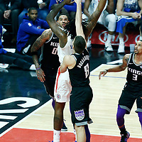 26 December 2017: LA Clippers center DeAndre Jordan (6) goes for the baby hook during the LA Clippers 122-95 victory over the Sacramento Kings, at the Staples Center, Los Angeles, California, USA.