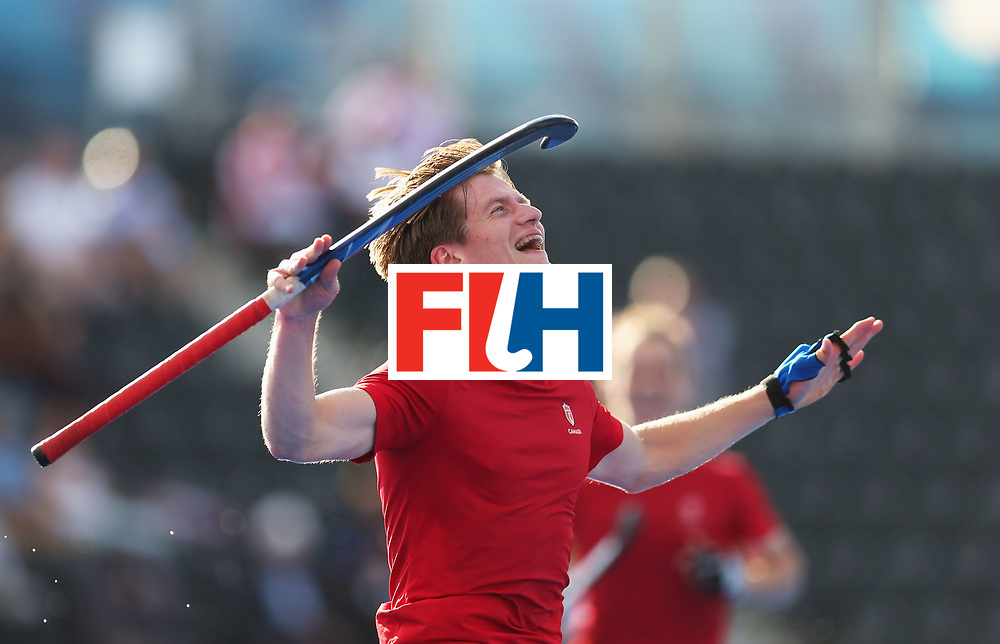 LONDON, ENGLAND - JUNE 16:  Foris Van Son of Canada celebrates as he scores their fourth goal during the Hero Hockey World League Semi-Final Pool B match between Pakistan and Canada at Lee Valley Hockey and Tennis Centre on June 16, 2017 in London, England.  (Photo by Alex Morton/Getty Images)