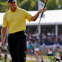 Apr 29, 2012; Avondale, LA, USA; Ernie Els reacts after missing a putt on the 18th hole during the final round of the Zurich Classic of New Orleans at TPC Louisiana. Mandatory Credit: Derick E. Hingle-US PRESSWIRE