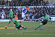 Scunthorpe United Murray Wallace (5) blocks the shot from  Bristol Rovers Dominic Telford (18) during the EFL Sky Bet League 1 match between Bristol Rovers and Scunthorpe United at the Memorial Stadium, Bristol, England on 24 February 2018. Picture by Gary Learmonth.