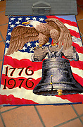 US flag painted on rug with liberty bell and bald eagle. Asian American Festival St Paul Minnesota USA