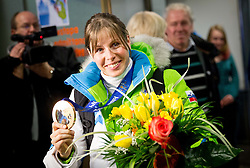 Vesna Fabjan, bronze medalist in cross country at reception of Slovenia team arrived from Winter Olympic Games Sochi 2014 on February 19, 2014 at Airport Joze Pucnik, Brnik, Slovenia. Photo by Vid Ponikvar / Sportida