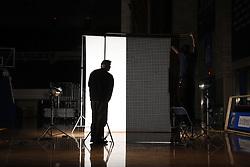 Ed Matthews and David Coyle set up photo shoot for UK freshman John Wall for Dime Magazine, Wednesday, Jan. 20, 2010 at Memorial Coliseum in Lexington.