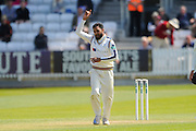 Yorkshire's Adil U Rashid  celebrates taking the wicket of Somerset's Peter Trego during the Specsavers County Champ Div 1 match between Somerset County Cricket Club and Yorkshire County Cricket Club at the County Ground, Taunton, United Kingdom on 16 May 2016. Photo by Graham Hunt.