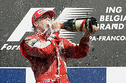 SPA FRANCORCHAMPS, BELGIUM - Sunday, August 30, 2009: Kimi Raeikkoenen (FIN, Scuderia Ferrari Marlboro) celebrates winning during the Belgian Grand Prix at the  Circuit of Spa Francorchamps. (Photo by Juergen Tap/Hochzwei/Propaganda)