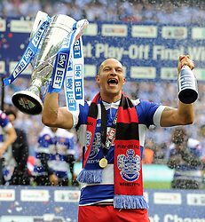 Goal scorer Queen Park Rangers' Bobby Zamora celebrates with the play off final trophy.   - Photo mandatory by-line: Alex James/JMP - Tel: Mobile: 07966 386802 24/04/2014 - SPORT - FOOTBALL - wembley - London -  Derby County V Queens Park Rangers - Play off final