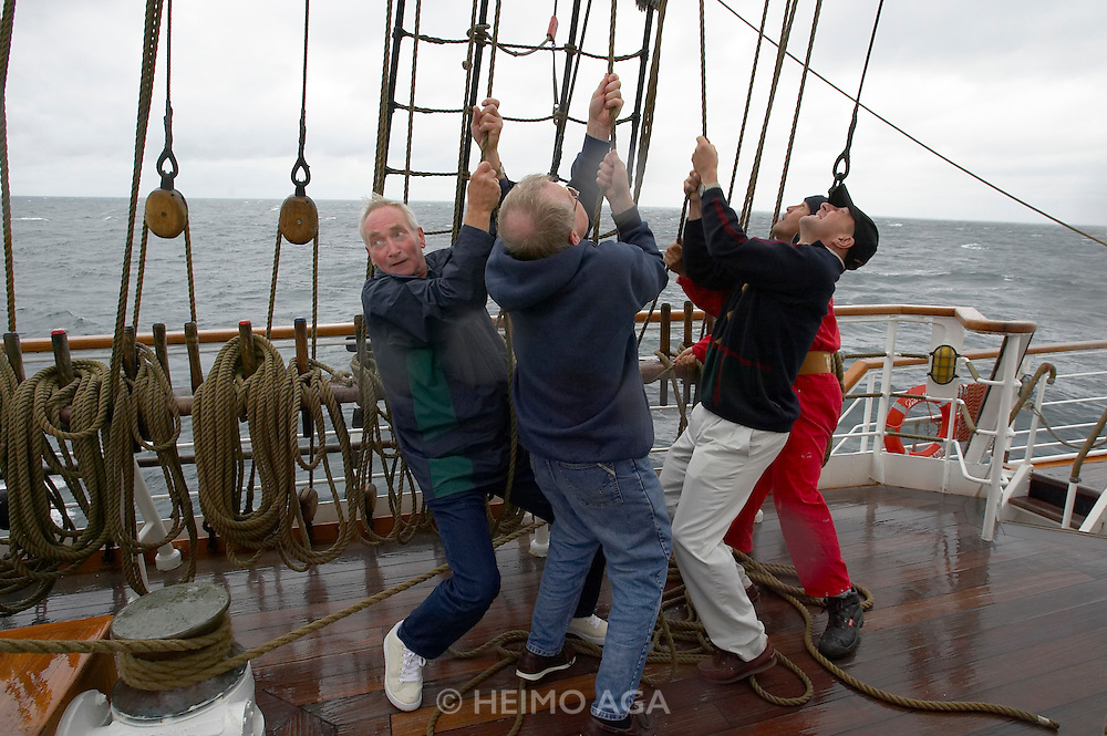 "Passengers helping riggers to take down the sails during a storm blowing with 6 Beaufort aboard the ""Lili Marleen"" (luxurious sailing ship of Deilmann Cruises)."
