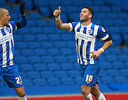 Brighton striker Tomer Hemed celebrates after scoring during the Sky Bet Championship match between Brighton and Hove Albion and Bolton Wanderers at the American Express Community Stadium, Brighton and Hove, England on 13 February 2016. Photo by Bennett Dean.