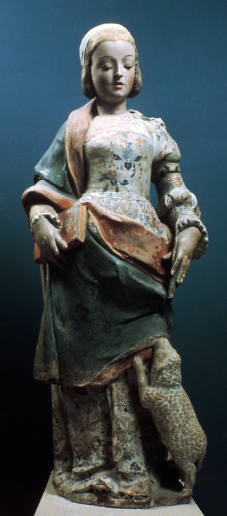 Figure of St Agnes with a lamb.  Jean de Rouen also called Joao de Ruao (c1500-1580) French scupltor and architect active in Portugal.
