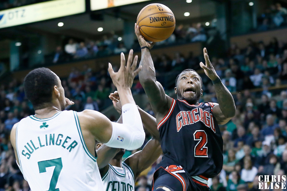 18 January 2013: Chicago Bulls point guard Nate Robinson (2) goes for the layup against Boston Celtics power forward Jared Sullinger (7) during the Chicago Bulls 100-99 overtime victory over the Boston Celtics at the TD Garden, Boston, Massachusetts, USA.