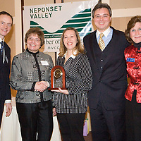 Paul and Fran Smith, presentors, Carrie and Ray Brouwer, Owners of Flowers and More and recepients of the Paul Smith Small Business of the Year Award and Sue McQuaid, President of NVCC, at Neponset Valley Chamber of Commerce's 115th Annual Meeting and Awards BreakfastNeponset Valley Chamber of Commerce's 115th Annual Meeting and Awards Breakfast
