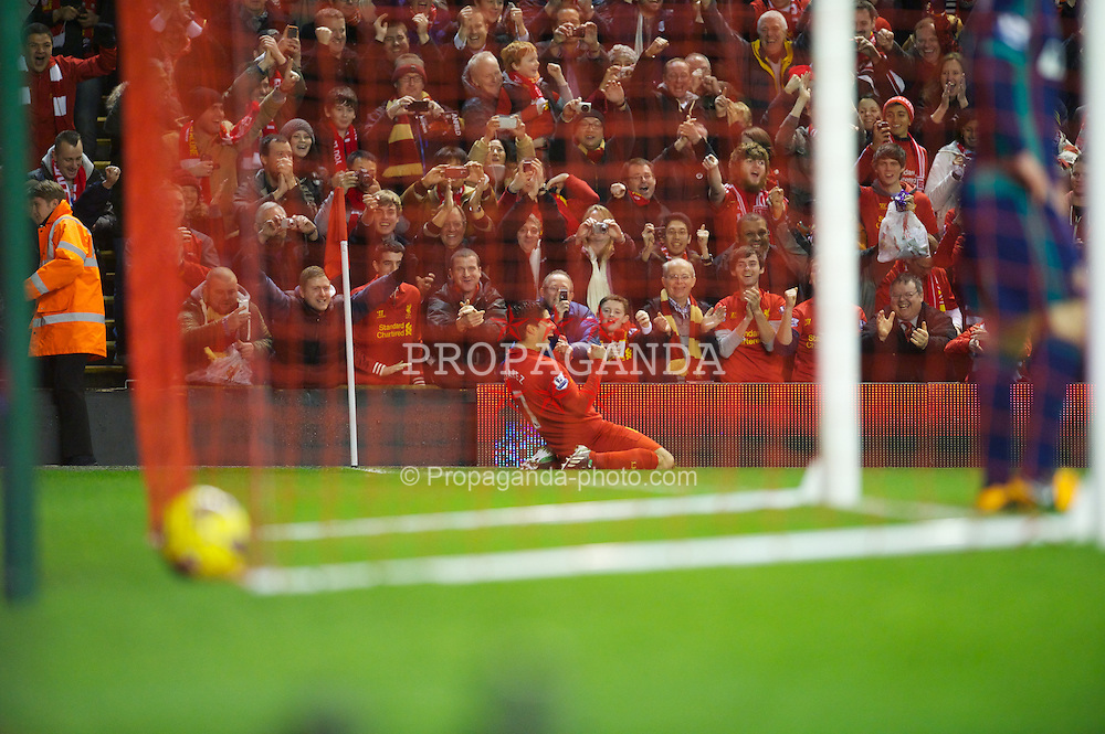 LIVERPOOL, ENGLAND - Wednesday, January 2, 2013: Liverpool's Luis Alberto Suarez Diaz celebrates scoring the second goal against Sunderland during the Premiership match at Anfield. (Pic by David Rawcliffe/Propaganda)