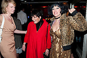 Annette Mclachlan; Liza Minnelli ; Meow Meow, THE UMBRELLAS OF CHERBOURG PRESS NIGHT FOLLOWED BY A PARTY AT STUDIO VALBONNE, 62 KINGLY STREET, London. 22 March 2011. <br />  -DO NOT ARCHIVE-© Copyright Photograph by Dafydd Jones. 248 Clapham Rd. London SW9 0PZ. Tel 0207 820 0771. www.dafjones.com.