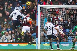 West Brom's Joleon Lescott fires a header at goal - Photo mandatory by-line: Matt McNulty/JMP - Mobile: 07966 386802 - 08/02/2015 - SPORT - Football - Burnley - Turf Moor - Burnley v West Brom - Barclays Premier League