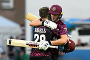 100 - Tom Abell of Somerset is hugged by Tom Lammonby of Somerset as he celebrates scoring a century during the Vitality T20 Blast South Group match between Somerset County Cricket Club and Middlesex County Cricket Club at the Cooper Associates County Ground, Taunton, United Kingdom on 30 August 2019.