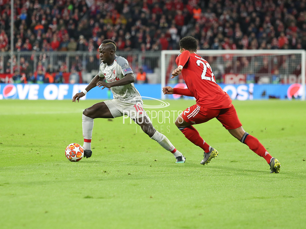 Said Mane of Liverpool with the ball during the Champions League round of 16, leg 2 of 2 match between Bayern Munich and Liverpool at the Allianz Arena stadium, Munich, Germany on 13 March 2019.