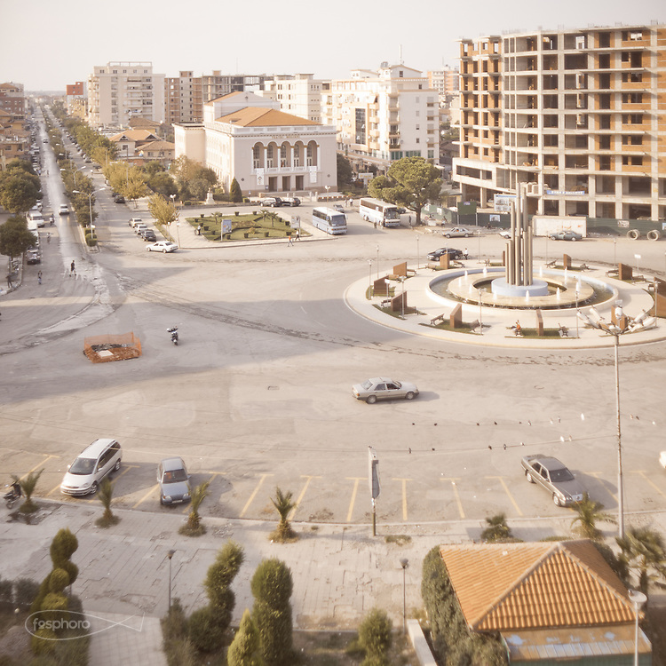 Shkodër - An historic town on the northern border of Albania. Main square and buildings.