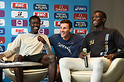 Pierre-Ambroise Bosse (FRA) Joseph Deng (AUS) and Peter Bol (AUS) during press conference of Meeting de Paris 2018, Diamond League, at Hotel Marriott, in Paris, France, on June 29, 2018 - Photo Jean-Marie Hervio / KMSP / ProSportsImages / DPPI