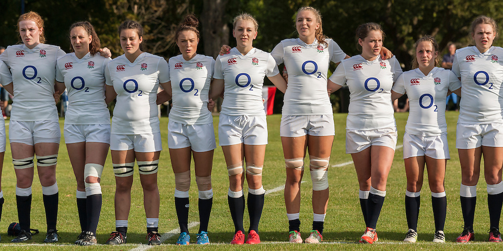 Singing the national anthem, U20 England Women v U20 Canada Women at Trent College, Derby Road, Long Eaton, England, on 26th August 2016