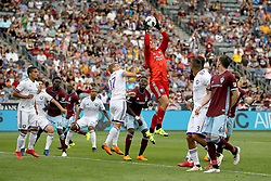 April 29, 2018 - Commerce City, Colorado - Orlando City SC goalkeeper Joe Bendik (1) elevates in the pack to snatch a corner kicked ball out of the air in the second half of action in the MLS soccer game between Orlando City SC and the Colorado Rapids at Dick's Sporting Goods Park in Commerce City, Colorado (Credit Image: © Carl Auer via ZUMA Wire)