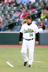 07 June 2013:   Hitting Coach Chris Arago assumes 3rd base duty during a Frontier League Baseball game between the Southern Illinois Miners and the Normal CornBelters at Corn Crib Stadium on the campus of Heartland Community College in Normal Illinois