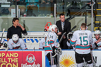 KELOWNA, CANADA - APRIL 12: Brad Ralph, head coach of the Kelowna Rockets goes over a play at the bench against the Victoria Royals on April 12, 2016 at Prospera Place in Kelowna, British Columbia, Canada.  (Photo by Marissa Baecker/Shoot the Breeze)  *** Local Caption *** Brad Ralph;