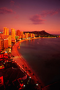 Waikiki at twilight, Oahu, Hawaii<br />
