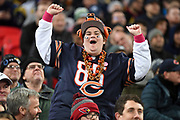 A Bengals fan dancing in the stand during the International Series match between Los Angeles Rams and Cincinnati Bengals at Wembley Stadium, London, England on 27 October 2019.