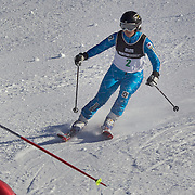 Jae Rim Yang, Korea, (right) with her guide Ko Woon Chung, in action during the Women's Slalom Visually Impaired Adaptive Slalom competition at Coronet Peak, New Zealand during the Winter Games. Queenstown, New Zealand, 25th August 2011. Photo Tim Clayton