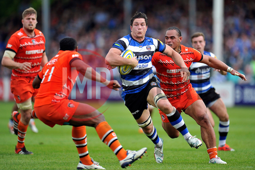 Francois Louw of Bath Rugby goes on the attack - Photo mandatory by-line: Patrick Khachfe/JMP - Mobile: 07966 386802 23/05/2015 - SPORT - RUGBY UNION - Bath - The Recreation Ground - Bath Rugby v Leicester Tigers - Aviva Premiership Semi-Final