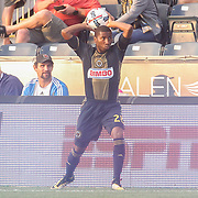 Philadelphia Union Defender RAYMON GADDIS (28) throws in the ball in the first half of a Major League Soccer match between the Philadelphia Union and Columbus Crew SC Saturday, July. 26, 2017, at Talen Energy Stadium in Chester, PA.