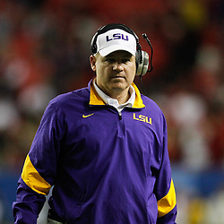 Dec 3, 2011; Atlanta, GA, USA; LSU Tigers head coach Les Miles against the Georgia Bulldogs during the second half of the 2011 SEC championship game at the Georgia Dome.  Mandatory Credit: Derick E. Hingle-US PRESSWIRE