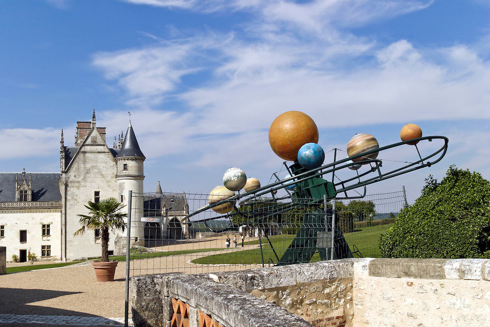 Amboise, Loire Valley, France:  Models of several creations by Leonardo da Vinci stand in the gardens of the Chateau Royal D'Amboise.  This one depicts the solar system and is often called da Vinci's Planetarium.