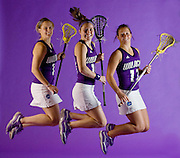 Northwestern University Lacrosse players Christy Finch, left, Hilary Bowen, middle, and Hannah Nielsen.