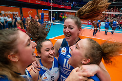 Carlijn Ghijssen-Jans #10 of Sliedrecht Sport, Emma Rekar #5 of Sliedrecht Sport, Ana Rekar #11 of Sliedrecht Sport celebrate in the cup final between Sliedrecht Sport and Laudame Financials VCN on February 16, 2020 in De Maaspoort in Den Bosch.