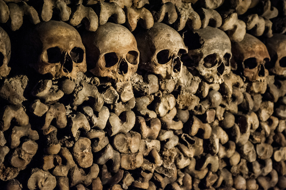 Stock photograph of skulls and bones in the Catacombs of Paris