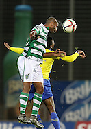 Sporting's forward Ricardo Esgaio heads the ball  during the Portuguese first league football match União vs Sporting held at Madeira stadium in Funchal on December 20, 2015.  LUSA / GREGORIO CUNHA