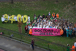 December 10, 2016 - London, London, United Kingdom - Image ¬©Licensed to i-Images Picture Agency. 10/12/2016. London, United Kingdom. Doctors Against Diesel campaign launch. Campaigners from Doctors Against Diesel gather by Euston Road, London, calling for Sadiq Khan, Mayor of London, to commit to phase out diesel vehicles from London, and for the public to respond to a TFL public consultation in support of the phasing out of diesel in London. Doctors Against Diesel is an emerging group of medical professionals who are drawing attention to the link between the use of diesel fuels, air pollution and a public health emergency. Picture by David Mirzoeff / i-Images (Credit Image: © David Mirzoeff/i-Images via ZUMA Wire)