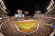 CLEVELAND, OH - OCTOBER 25, 2016: A general wide angle interior night view from the bleachers during the singing of the national anthem before the start of Game 1 of the 2016 World Series between the Chicago Cubs and the Cleveland Indians at Progressive Field on October 25, 2016 in Cleveland, Ohio. (Photo by Jean Fruth)