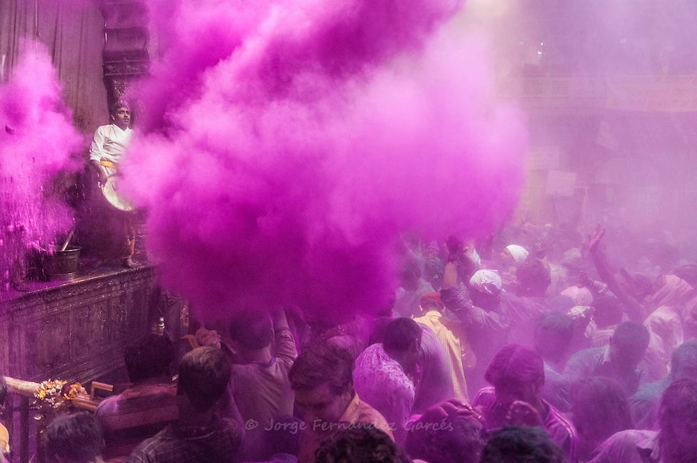 People celebrating Holi festival 2014, Vrindavan, India.