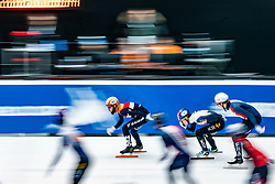 Sjinkie Knegt in action on the 5000 meter relay during ISU World Cup Finals Shorttrack 2020 on February 14, 2020 in Optisport Sportboulevard Dordrecht.