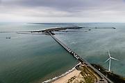 Nederland, Zeeland, Oosterschelde, 19-10-2014; Oosterschelde Stormvloedkering tussen Schouwen en Noord-Beveland. Sluitgat Roompot in de voorgrond, links de Noordzee. In het midden Neeltje Jans met werkhaven, Schouwen-Duiveland aan de verre horizon.<br /> Storm surge barrier in Oosterschelde (East Scheldt), between Islands of Schouwen-Duiveland and Noord-Beveland, North Sea on the left. Under normal circumstances the barrier is open to allow for the tide to enter and exit. In case of high tides in combination with storm, the slides are closed. <br /> luchtfoto (toeslag op standard tarieven);<br /> aerial photo (additional fee required);<br /> copyright foto/photo Siebe Swart