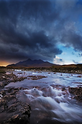 A Rainstorm is coming in over the Cuillin Mountains on the Isle of Skye, Scotland