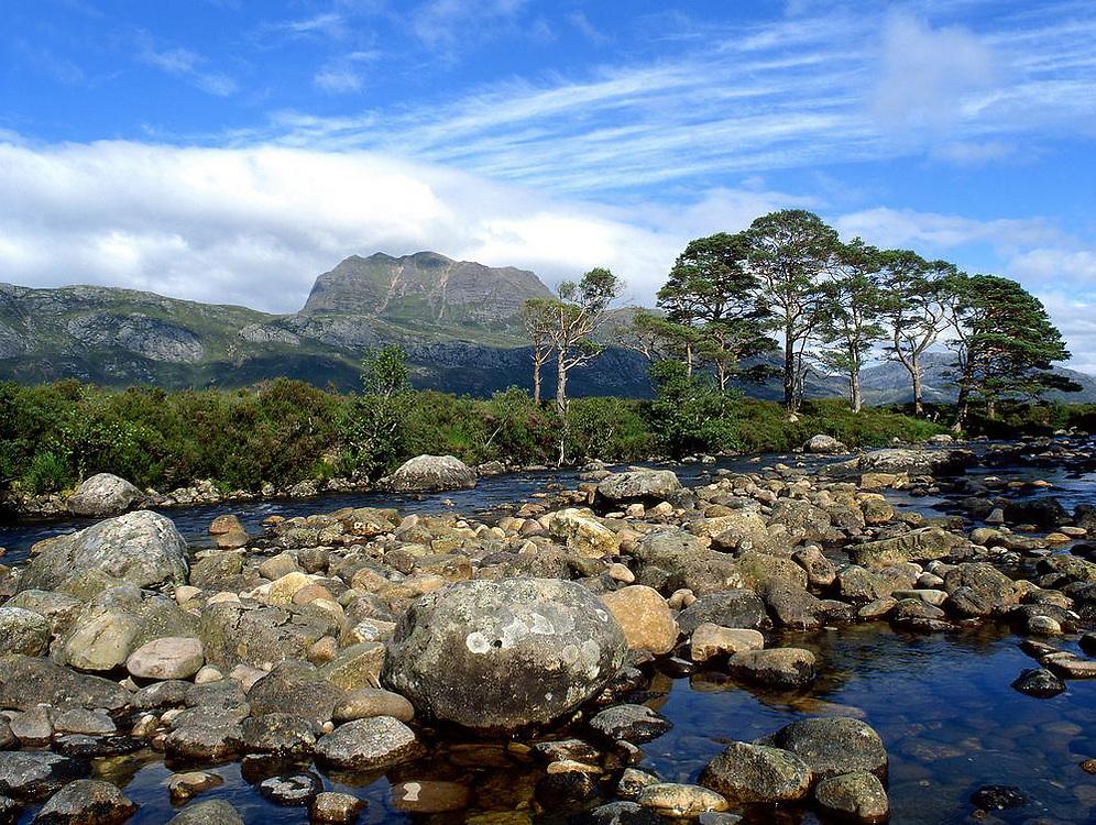 Ben Slioch from the bridge of Grudie, Loch Maree, Wester Ross, N/W Highlands.